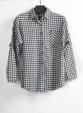 Siyah Beyaz Kadın Oduncu Gömlek