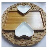 Şener ŞNR 100765 Porselen Kalpli Servis Tabağı Bambu 2li