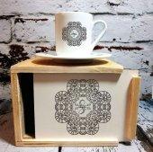 Kişiye Özel İsim Yazılı Ahşap Kutulu Kahve Fincanı