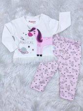 Minilay Unicorn Baskılı Kız Bebek Takım 3-6-9 Ay
