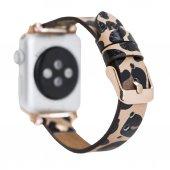 Bouletta Apple Watch Deri Kordon 38-40mm Ferro Gold Trok Leopar NE