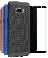 Samsung Galaxy S8 Fileli Delikli Sert Silikon Kılıf + Cam Ekran Koruyucu