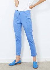 Kadın Mavi Desenli Cepli Pantalon