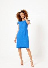 Kadın İndigo Omuz Detaylı Elbise