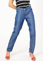 Kadın İndigo Yan Taş Detaylı Jean Pantalon