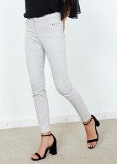 Kadın Gri Slim Fit Likralı Pantalon
