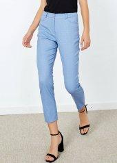 Kadın Mavi Puantiye Cepli Pantalon