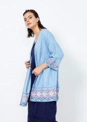 Kadın İndigo Nakışlı Kimono