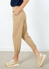 Kadın Bej Bel Lastikli Pantolon