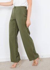 Kadın Haki Fermuarlı Salaş Pantalon
