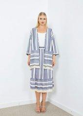 Kadın Açık Mavi Çizgili Dantel Detaylı Kimono
