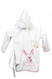 CNK Tekstil 1 - 8 Yaş 3D Nakışlı Çocuk Bornozu - Kız Çocuk