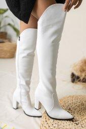 Suvla Deri Çizme Beyaz