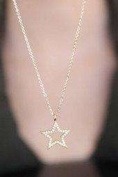 Yıldız Figür Zirkon Taşlı Gold Renk Metal Kadın Kolye