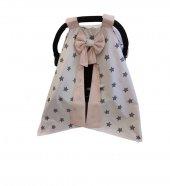 Bebekatölyesi Beyaz Gri Yıldız Desenli Somon Puset Örtüsü