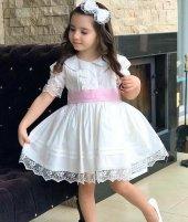 Kız Çocuk White Princess Bebe Yaka Elbise