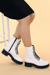 Ayakland 2463-2115 Cilt Fermuarlı Termo Kadın Bot Ayakkabı Beyaz