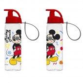 Mickey Mouse 500 Ml Askılı Şeffaf Matara (Kırılmaz)