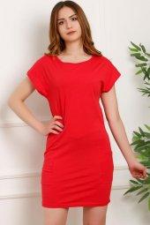 Büyük Beden Cep Detaylı Elbise Kırmızı - 1681.1256.