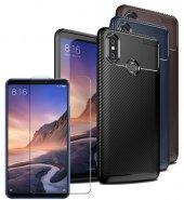 Xiaomi Mi Max 3 Kılıf Silikon Negro Karbon Darbe Emici + Nano Ekran Koruyucu-(mb-63b)