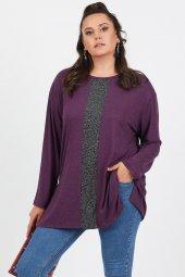 Büyük Beden Mor Salaş Önü Sim Detaylı Uzun Kol Bluz