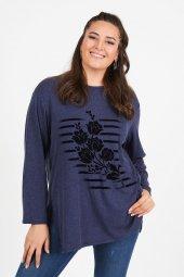 Büyük Beden Lacivert Çizgi Çiçek Baskılı Uzun Kol Penye Bluz