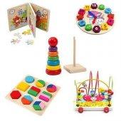Hamaha Wooden Toys Ahşap Eğitici 5 Li Set Zeka Algı Oyunları Helezon - Puzzle - Saat - Geometrik