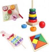 Hamaha Wooden Toys Ahşap Eğitici Geliştirici Geçmeli Kule+Meyve Kesme+Tangram+Selefon 4Lü Set