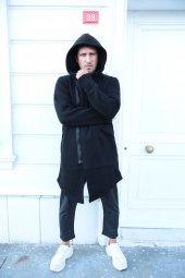 Trair Erkek Siyah Yandan Fermuarlı Kapşonlu Uzun Salaş Panço