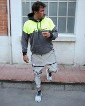 Trair Erkek Yazı Desenli Cepli Kapşonlu Oversize Sweatshirt