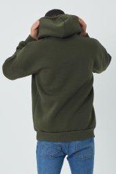 Trair Erkek Önü Yazı Nakışlı Cepli Kapşonlu Sweatshirt