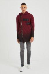 Trair Erkek Fermuar Ve Yazı Detaylı Kapşonlu Oversize Sweatshirt
