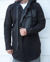 Trair Erkek Siyah Fermuarlı Ön Cepli Kapşonlu Salaş Panço