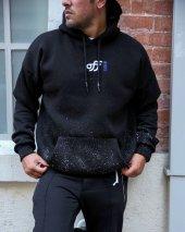 Trair Erkek Siyah Arka Baskılı Cepli Kapşonlu Sweatshirt