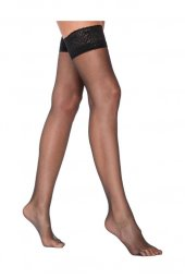 Kadın Siyah Burnu Şeffaf Dizüstü Çorap 049