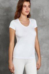 Kısa Kol V Yaka Kadın Termal Giyim Tişört 8580