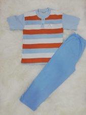 fapi erkek çocuk altı uzun üstü yarım kol iki düğmeli çizgili pijama takımı