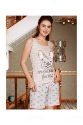 9515 Kadın Pijama Pamuklu  Kalın Askı Şort 2li Tk.
