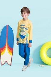 Ah Monster Sarı Erkek Çocuk Pijama Takımı