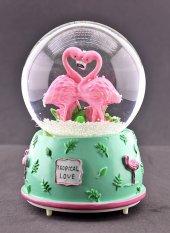 Kalp Şeklinde Flamingolar Kar Küresi Orta Boy Işıklı Müzikli 12cm-29b