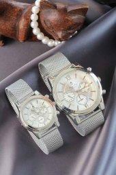 Silver Renkli Hasır Metal Kordonlu Sevgili Saatleri