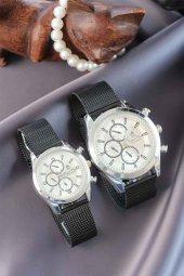 Gümüş Kasa Hasır Metal Kordonlu Füme Renk Sevgili Saatleri