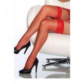 Modanight Kırmızı Dantelsiz Jartiyer Çorabı