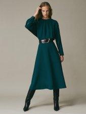 Dökümlü midi elbise Nane yeşi̇li̇ 38