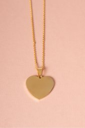 Çelik Plaka Gold Renkli Kalp Kolye