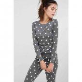 Modanight Gri Yıldız Desenli Şık Pijama Takımı