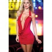 Modanight Dekolteli Mini Elbise Kırmızı