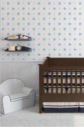 Zümrüt Milky Baby 412-2 Mavi Yıldız Desenli Duvar Kağıdı 5,30 M²