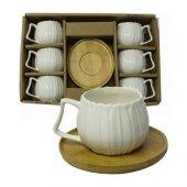 Papatya Bambu Tabaklı Porselen 6 Lı Kahve Fincan Takmı ,Bambu Fincan Takımı