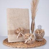 Caramel Pamuk Havlu + Süslü Sabun + Süslü Kolonya Şişesi Hediyelik Kutulu Set
